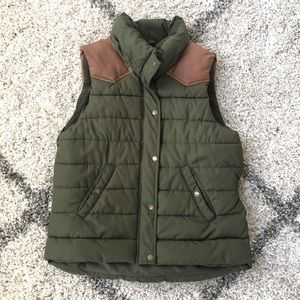 H&M Army Green Puffer Vest with Faux Leather